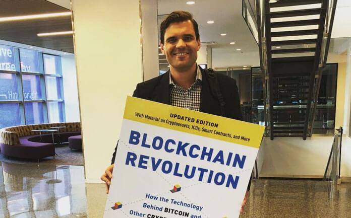 "co-author of the well-known book ""Blockchain Revolution"", Alex Tapscott."