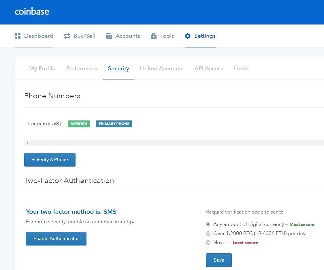 coinbase 2 key factor security