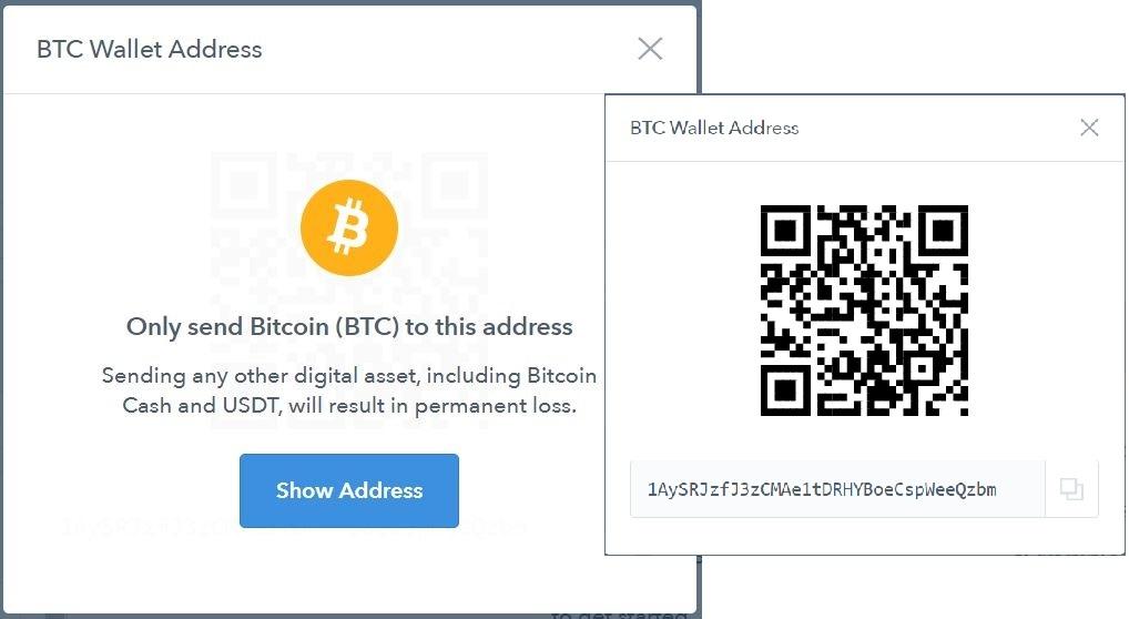 Deposit Bitcoins at Coinbase