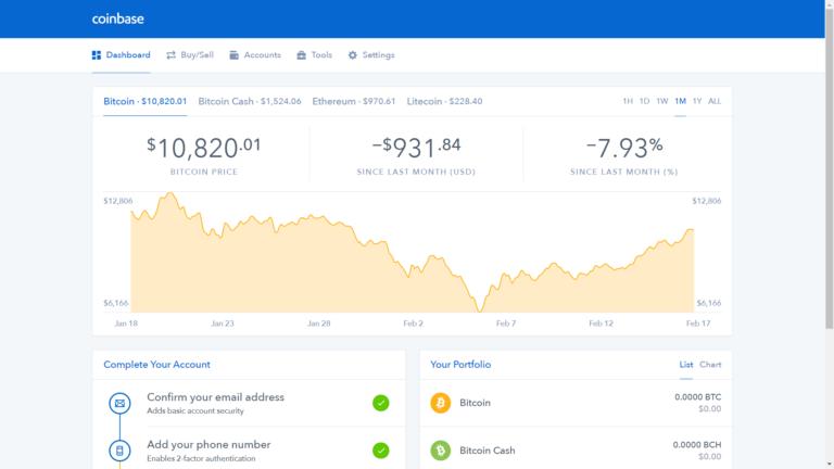 La plataforma de Coinbase ofrece múltiples opciones con un diseño minimalista propio de las mejroes wallets.