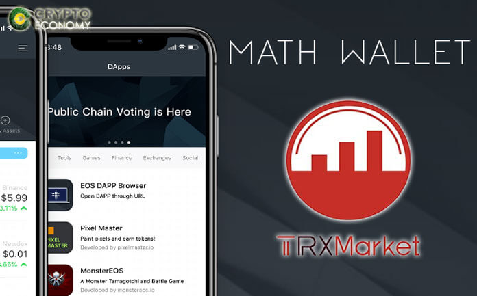 Tron [TRX] based TRXMarket now available in mobile version with Math Wallet