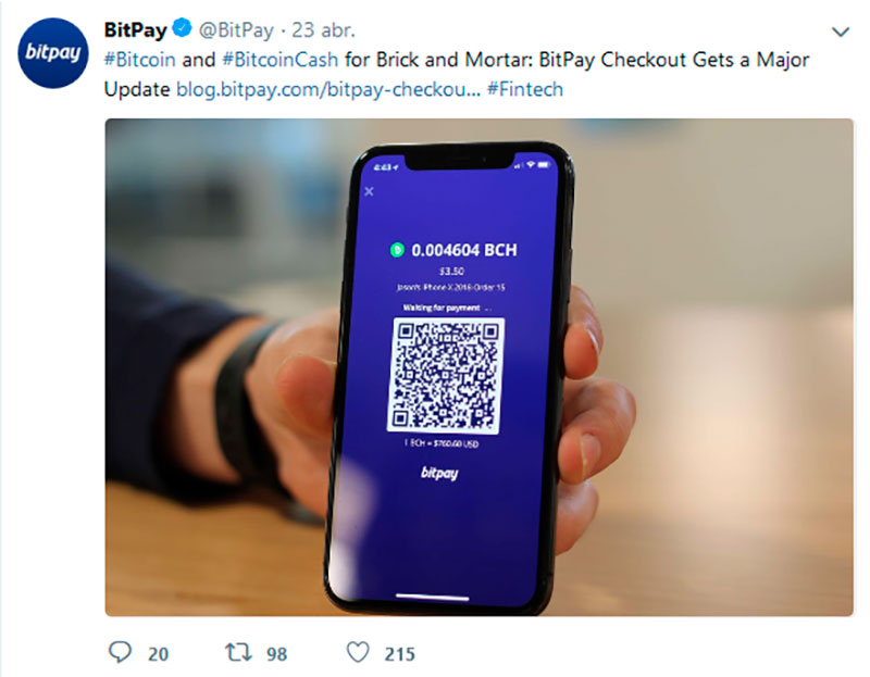New support Bitpay news twitter