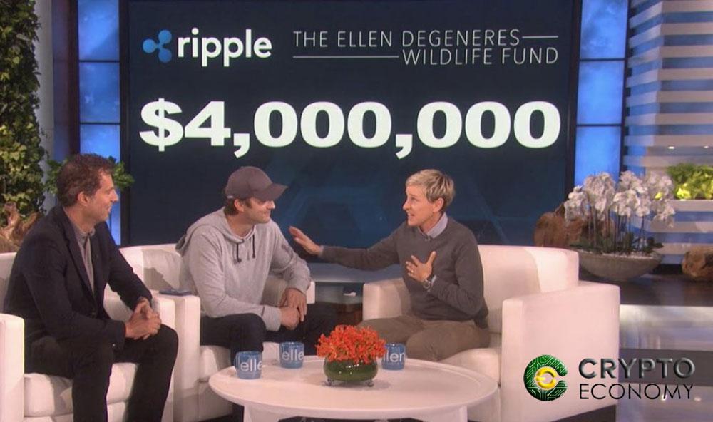 Ashton Kutcher donated USD $ 4 million in Ripple to Ellen
