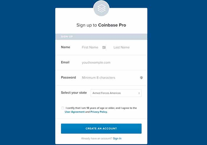 account coinbase pro