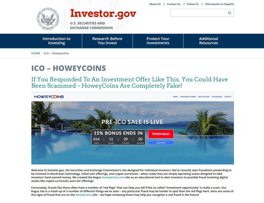 fake ico of the SEC to alert investors