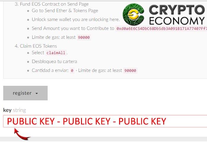 Step 10 register wallet eos
