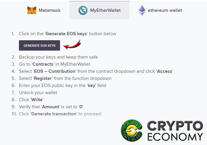 Step 5 register wallet eos