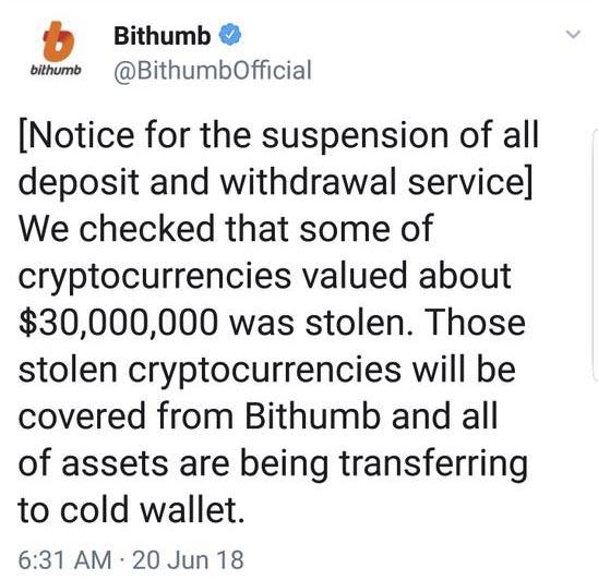 Bithumb clears the $ 30 million hack tweet