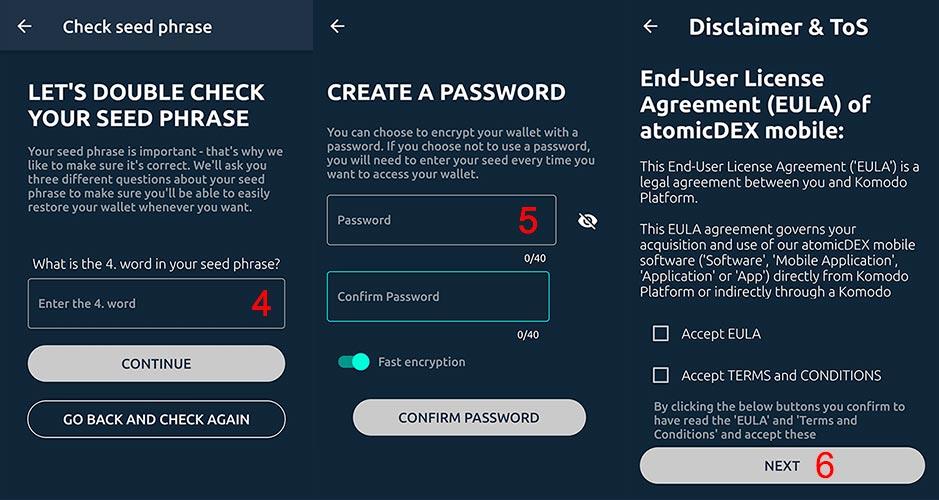 atomicdex password