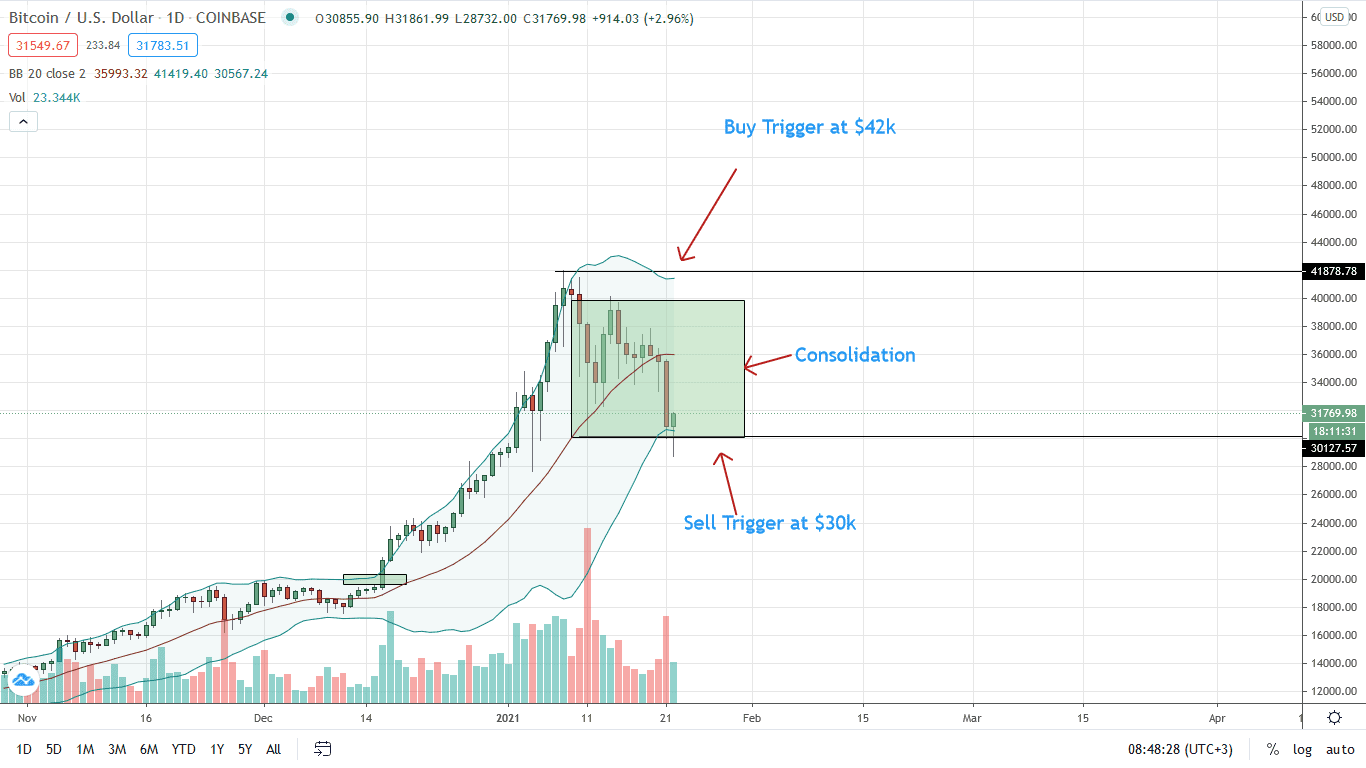 Bitcoin Price Daily Chart for Jan 22