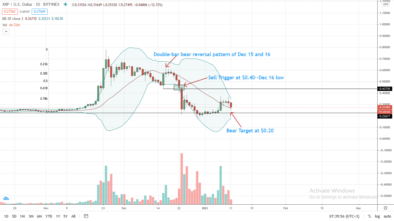 Ripple Price Daily Chart for Jan 11