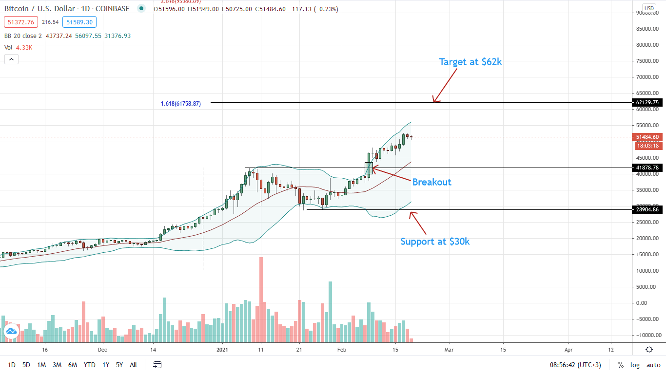 Bitcoin Daily Price Chart for Feb 19