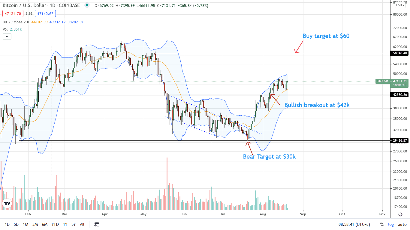 Bitcoin Price Daily Chart for Aug 20